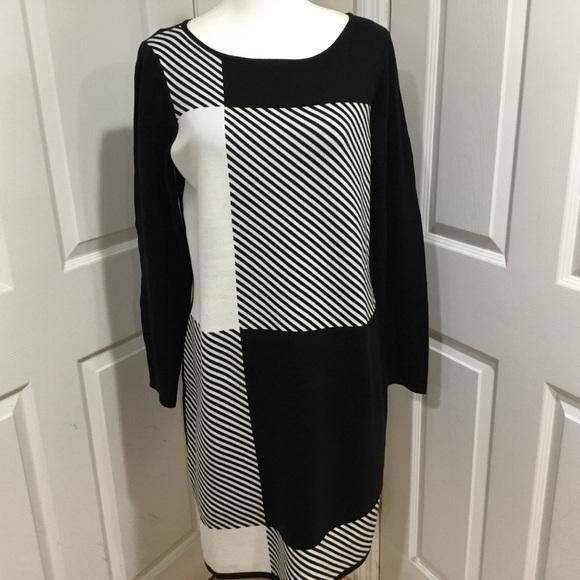 Chaps Dresses & Skirts - Chaps Black & White Knit Dress Size XL
